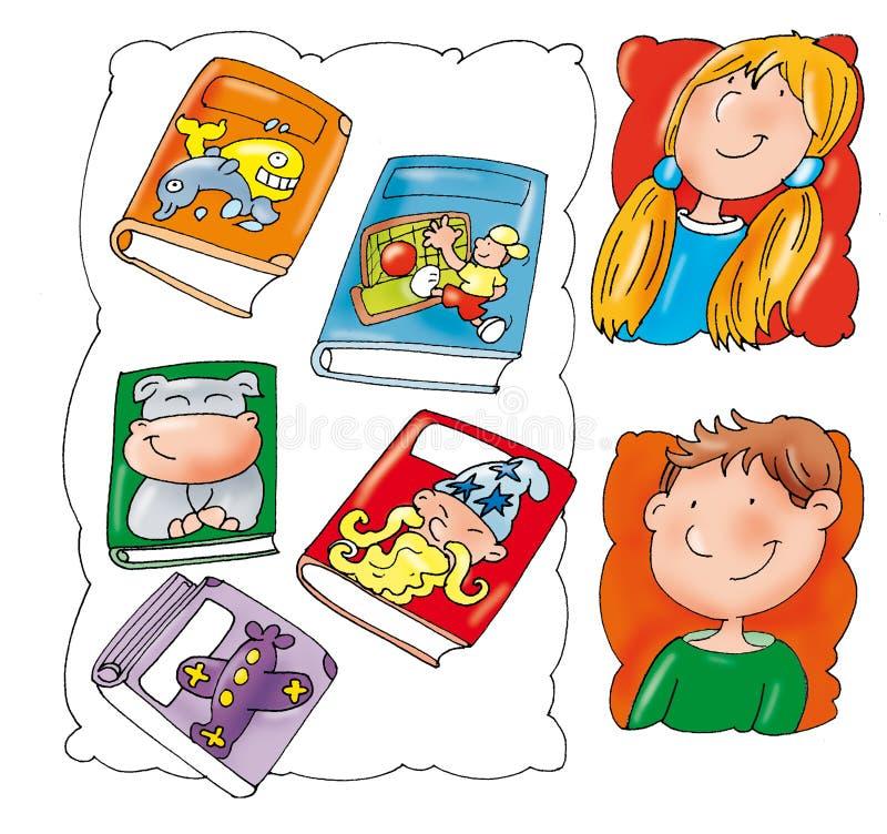 Visages des enfants, avec des livres illustration de vecteur