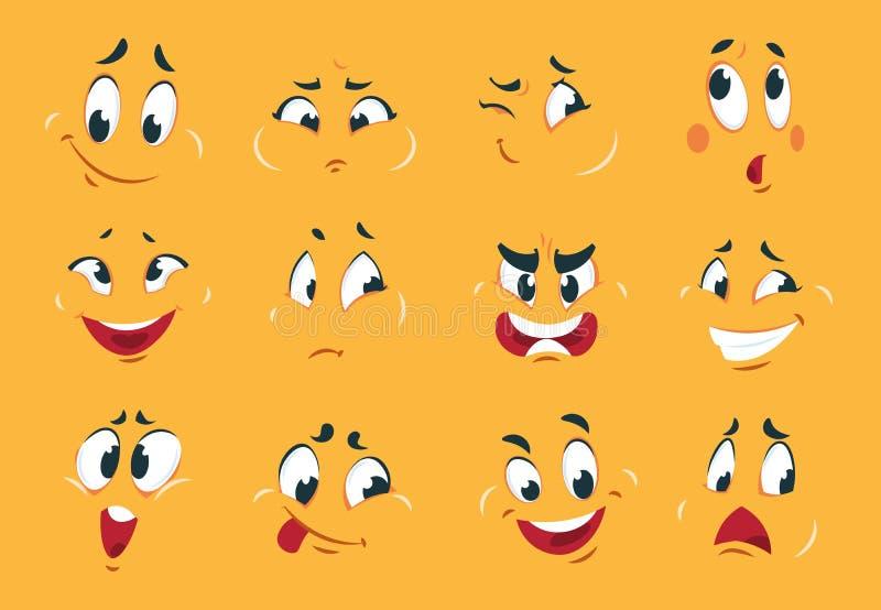 Visages drôles de dessin animé Les yeux fâchés d'expressions de caractère gribouillent de comique étrange de bouche de croquis fo illustration stock