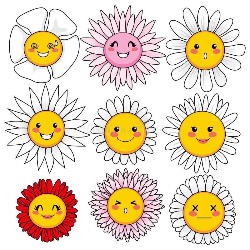 Visages drôles de fleur illustration libre de droits