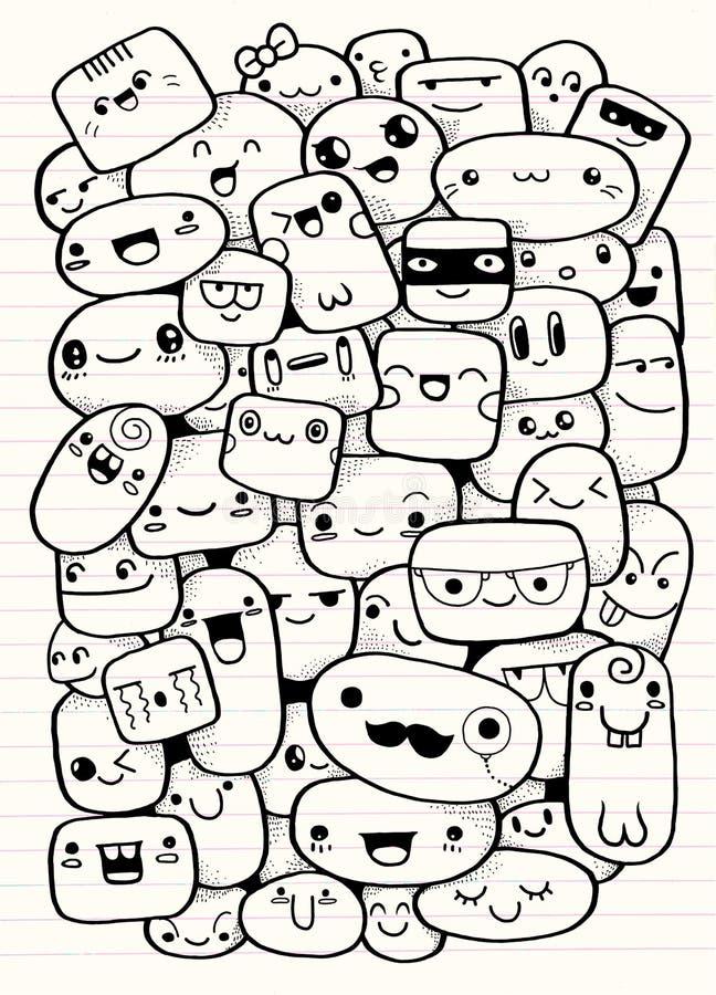 Visages drôles de dessin animé Illustration de clipart (images graphiques) de vecteur illustration de vecteur