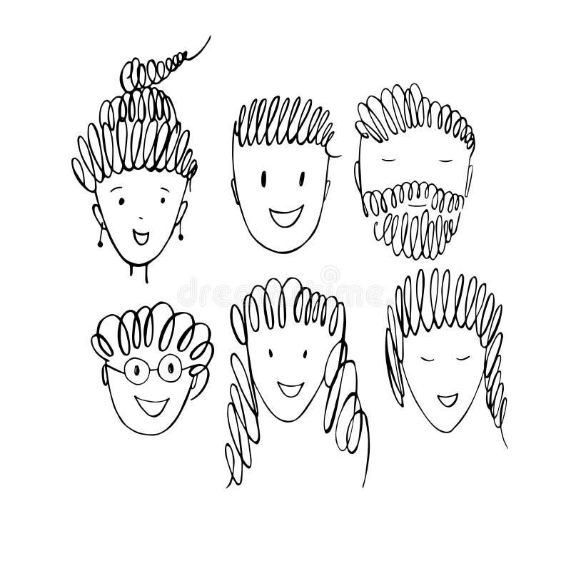Visages du ` s de personnes Illustration de croquis de vecteur illustration libre de droits