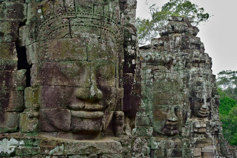 Visages en pierre de temple de Bayon, Siemreap, Cambodge image libre de droits
