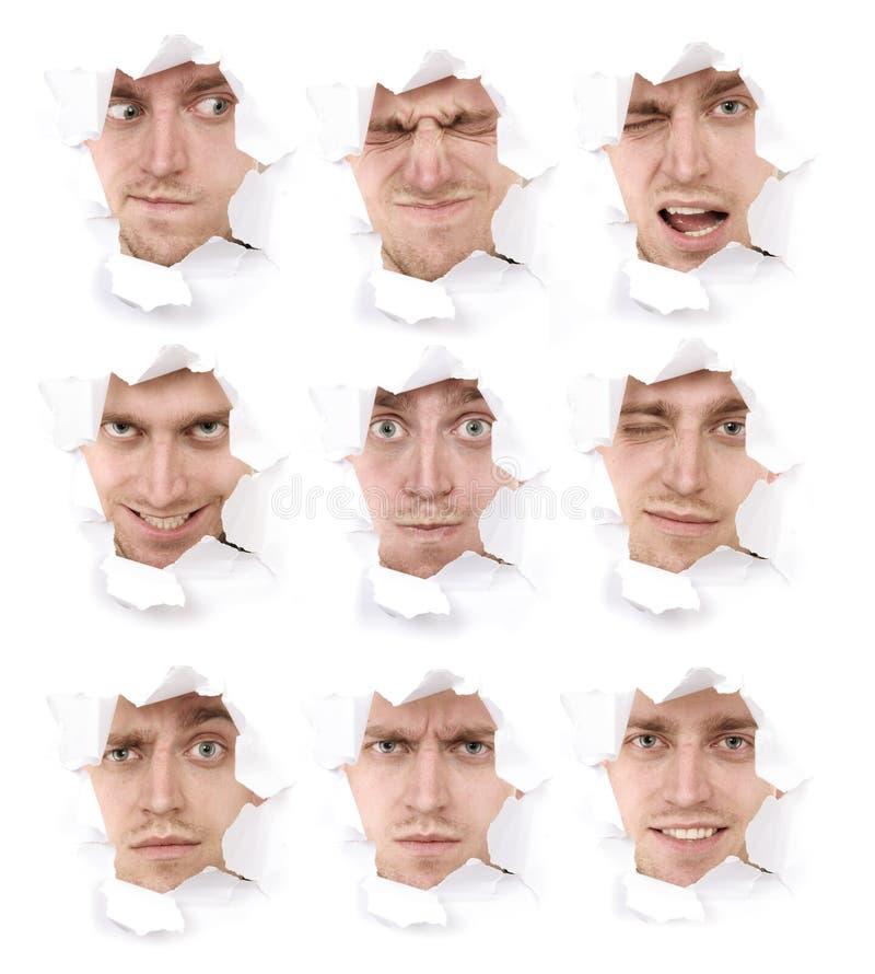 Visages expressifs de la personne émotive images stock
