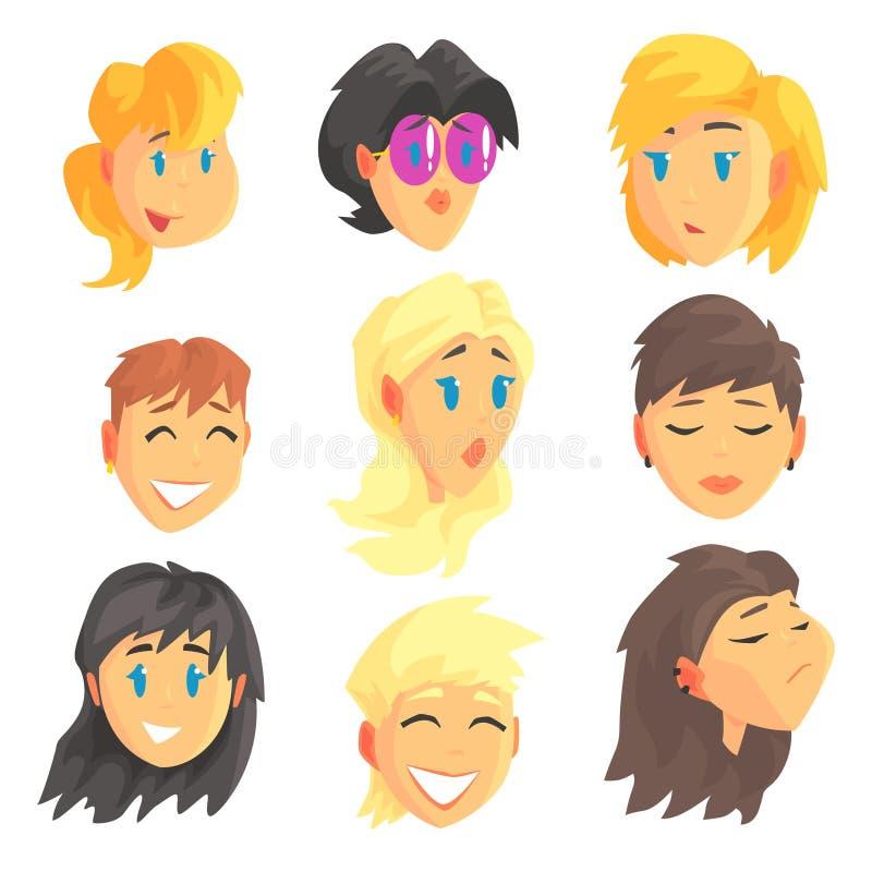 Visages femelles d'avatar de bande dessinée avec différentes émotions Ensemble de femmes de différentes nations et professions, c illustration stock