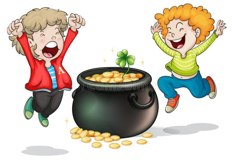 Visages heureux de deux enfants avec un pot d'argent illustration libre de droits