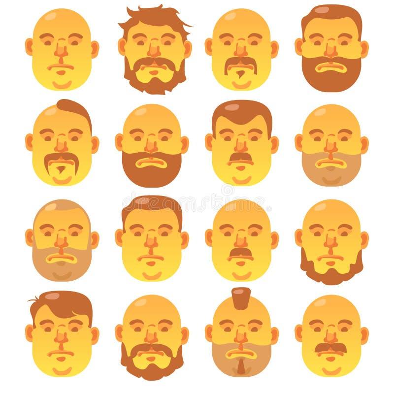 16 visages jaunes humains avec la coiffure différente et la barbe ; illustration libre de droits