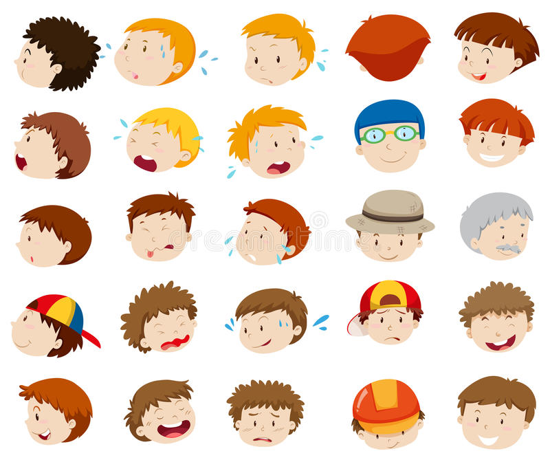Visages masculins avec différentes émotions illustration libre de droits