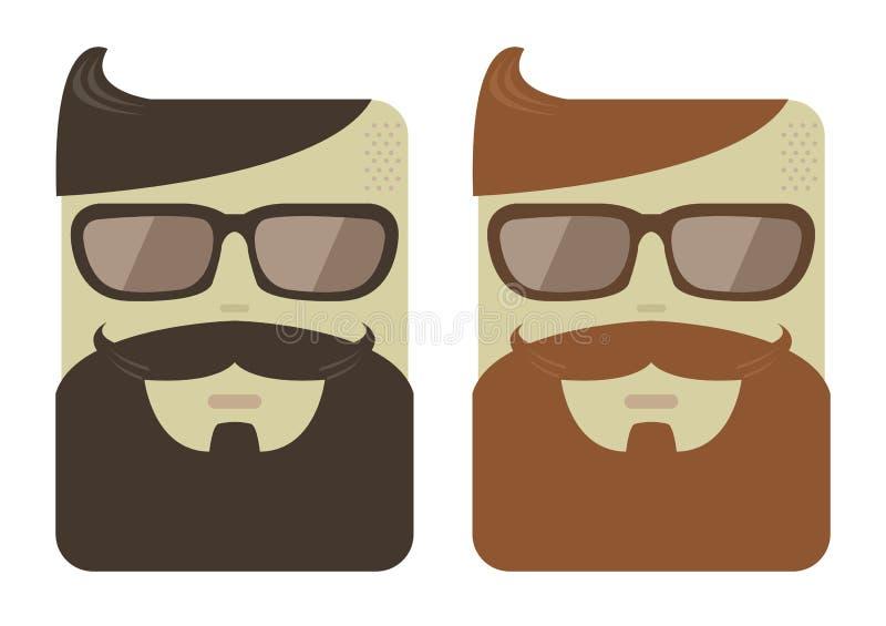 Visages masculins de bande dessinée de vecteur avec des barbes de hippie illustration stock