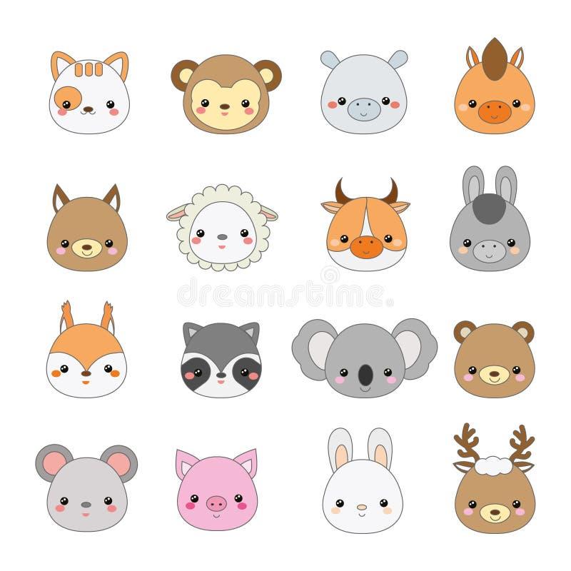 Visages mignons d'animaux Grand ensemble d'icônes de faune de kawaii de bande dessinée et d'animaux de ferme illustration libre de droits
