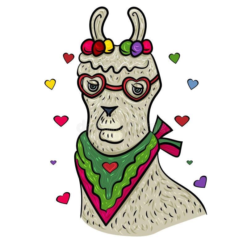 Visages mignons de lama Jour heureux du `s de Valentine Lama avec le coeur et les verres Alpaga de lama Le sentiment doux de l'am illustration libre de droits
