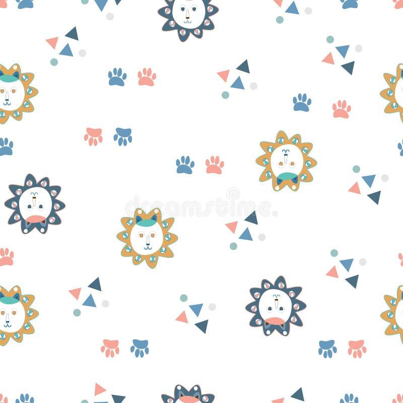 Visages, pattes, triangles et cercles de lion illustration de vecteur