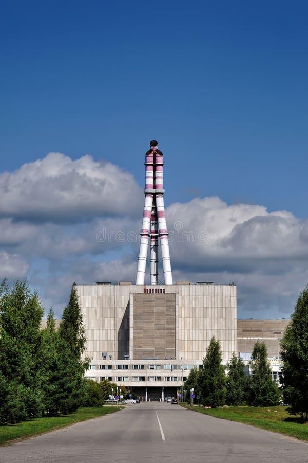 VISAGINAS, LITOUWEN - MEI 24, 2019: De beroemde Ignalina-kernenergieinstallatie met de krachtigste reactoren RBMK in de wereld stock foto