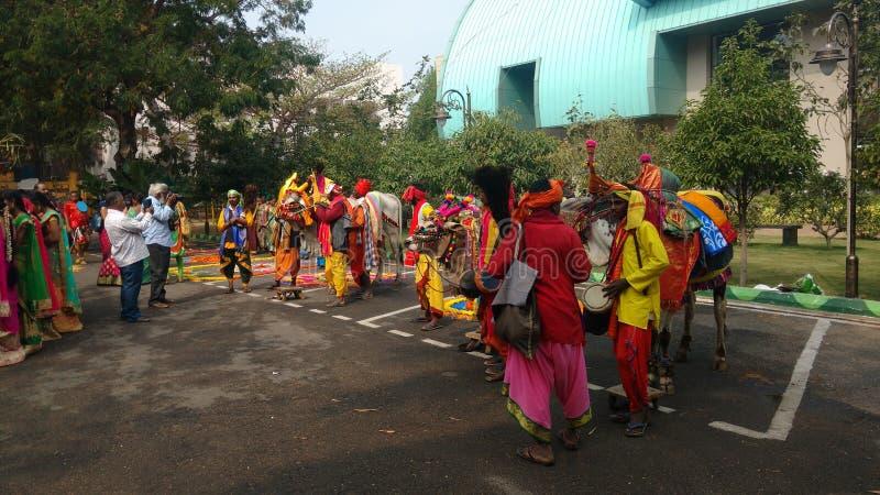 Visakhapatnam, Andhra Pradesh, Índia, o 12 de janeiro de 2019: Parte do sambaralu do sankranthi conduzida por A P governo imagens de stock