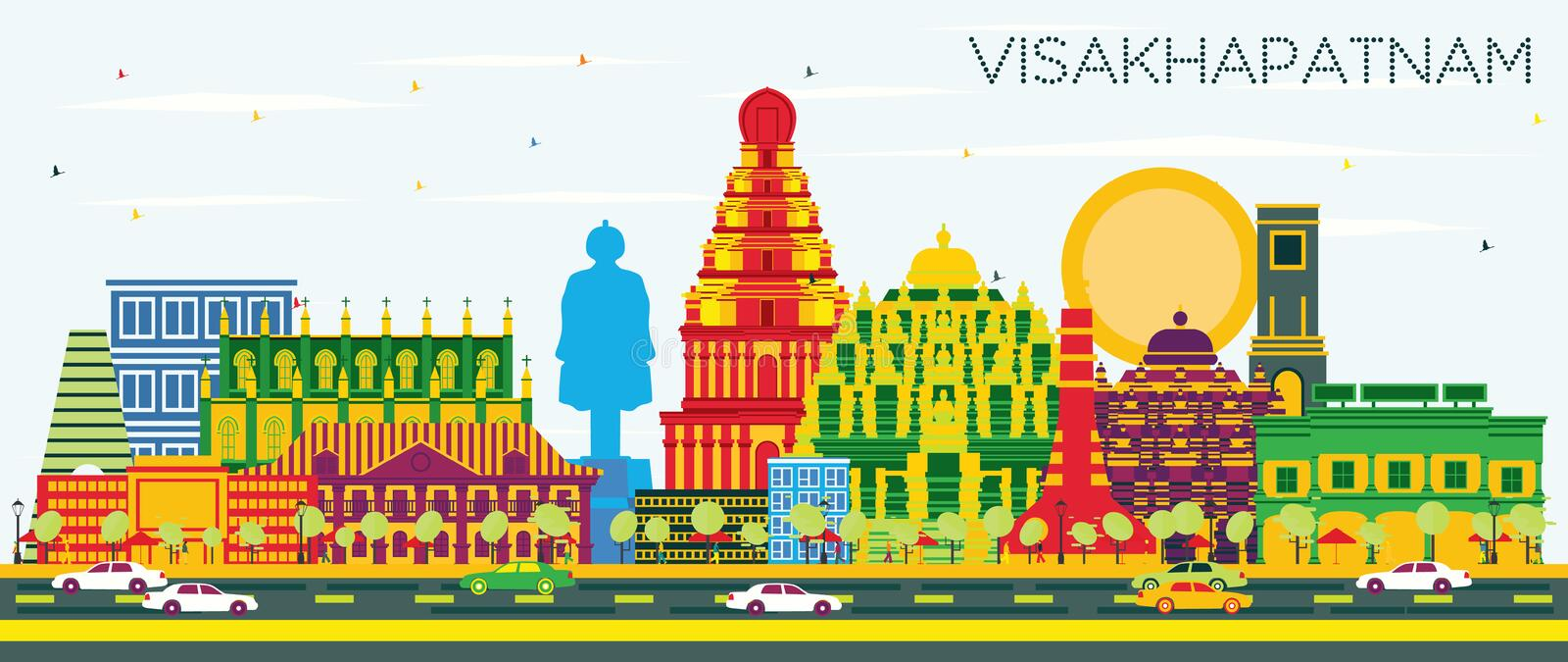 Visakhapatnam India City Skyline with Color Buildings and Blue S. Ky. Vector Illustration. Business Travel and Tourism Concept with Historic Architecture royalty free illustration