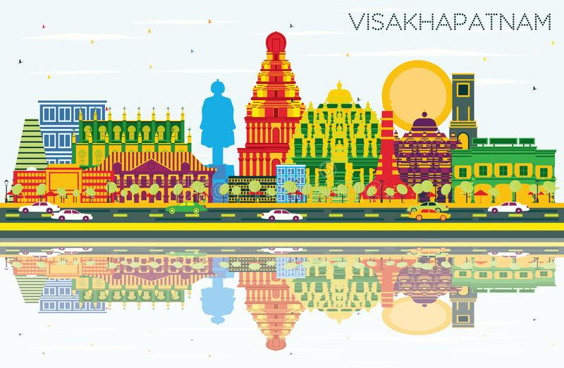 Visakhapatnam India City Skyline with Color Buildings, Blue Sky. And Reflections. Vector Illustration. Business Travel and Tourism Concept with Historic vector illustration