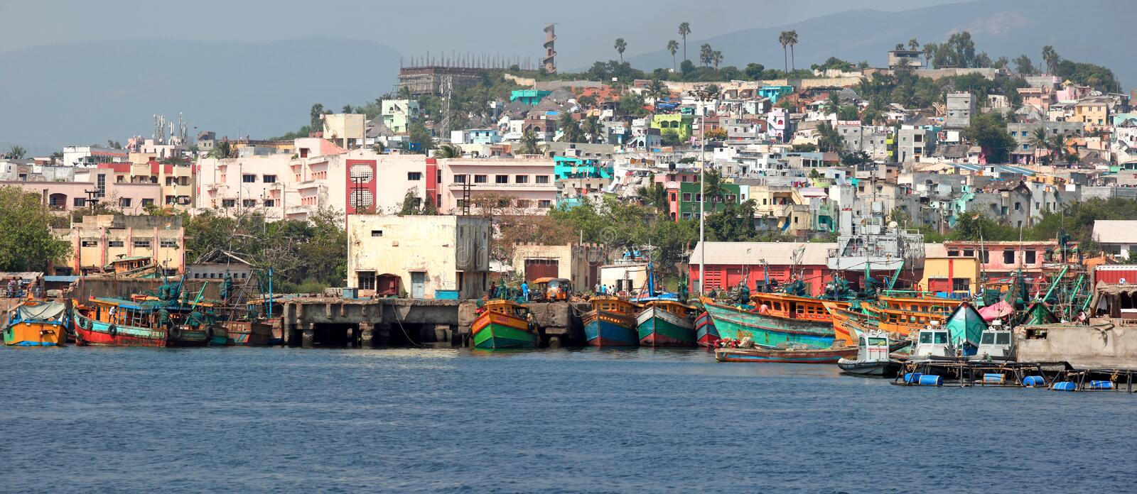 Visakhapatnam, INDIA. December 7 :Fishing harbor in Visakhapatnam was set up in 1976 spreading across 24 hectors of land . On December 7,2015 stock photo