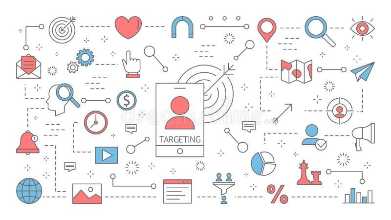 Visando o conceito Ideia da estratégia de marketing do negócio ilustração stock