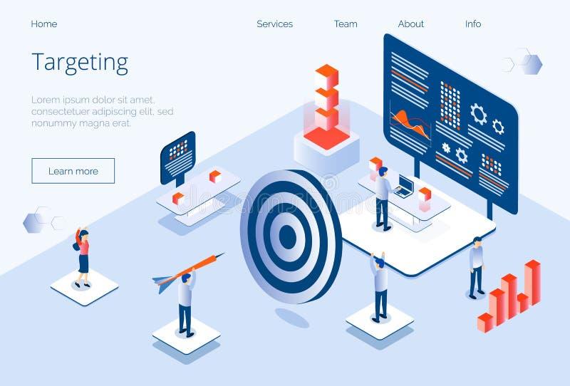 Visando o vetor isométrico do conceito do negócio para a página de aterrissagem, Web site, app ilustração stock