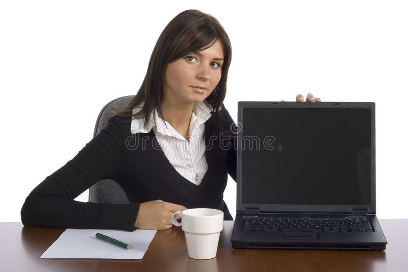 visar arbetaren för kvinnligkontorsskärmen arkivbilder