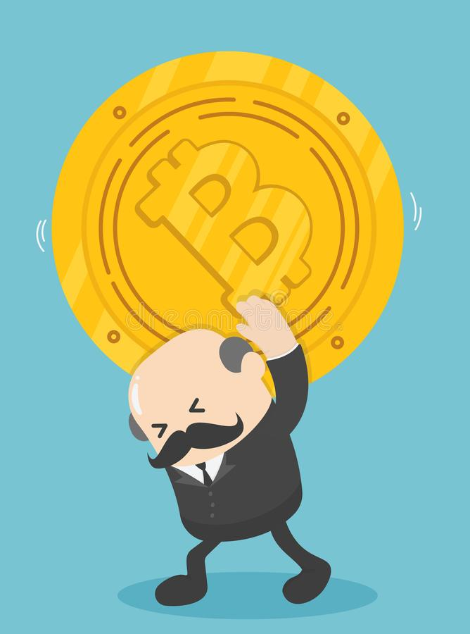 Visar bärande bitar för affärsman av myntet nedgången av bitcoin stock illustrationer
