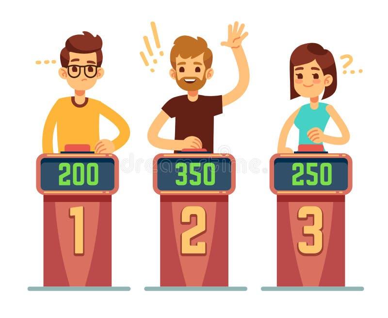 Visar svarande frågor för folk och trycka påknappar på frågesport För konkurrensvektor för gåta modigt begrepp royaltyfri illustrationer