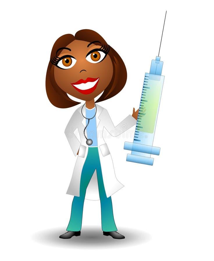visarinjektionsspruta för 2 doktor stock illustrationer