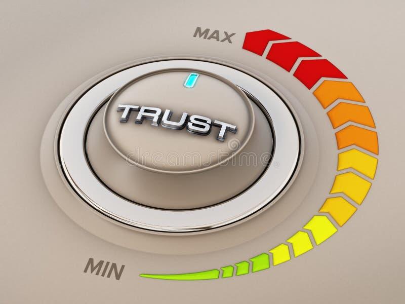 Visartavla för knopp för tappningstilkontroll med förtroendeord illustration 3d vektor illustrationer