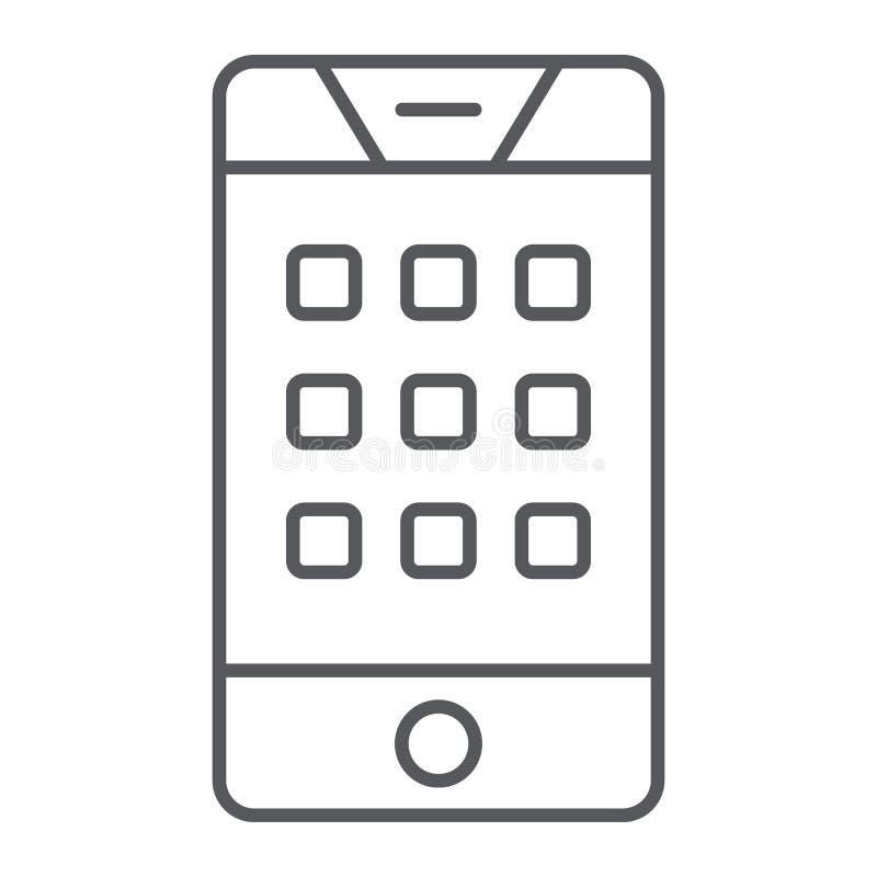 Visartavlanummer på den tunna linjen symbol för telefon, mobilen och appellen, tangentbord på smartphonetecknet, vektordiagram, e royaltyfri illustrationer