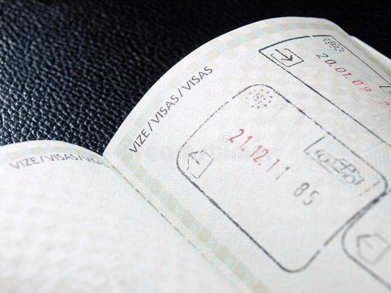 Visas. View of the open passport and space provided for visas and stamps stock photography