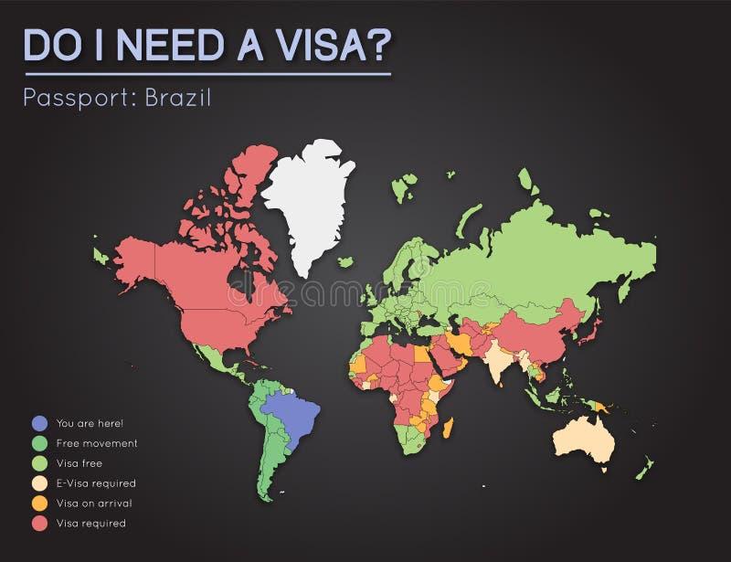 Visas Information For Federative Republic Of Stock Vector Image - Federative republic of brazil map