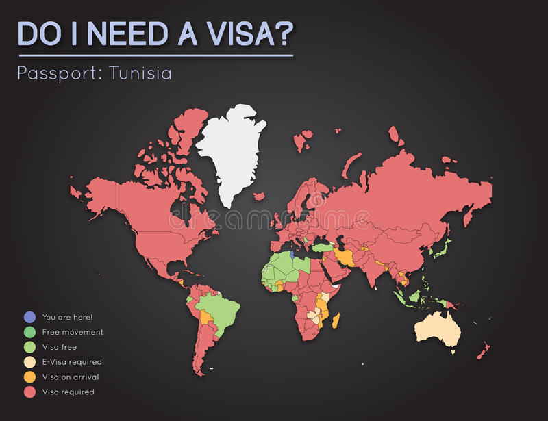 Visas information for republic of tunisia stock vector visas information for republic of tunisia passport holders year 2017 world map infographics showing visa requirements for all countries gumiabroncs Gallery