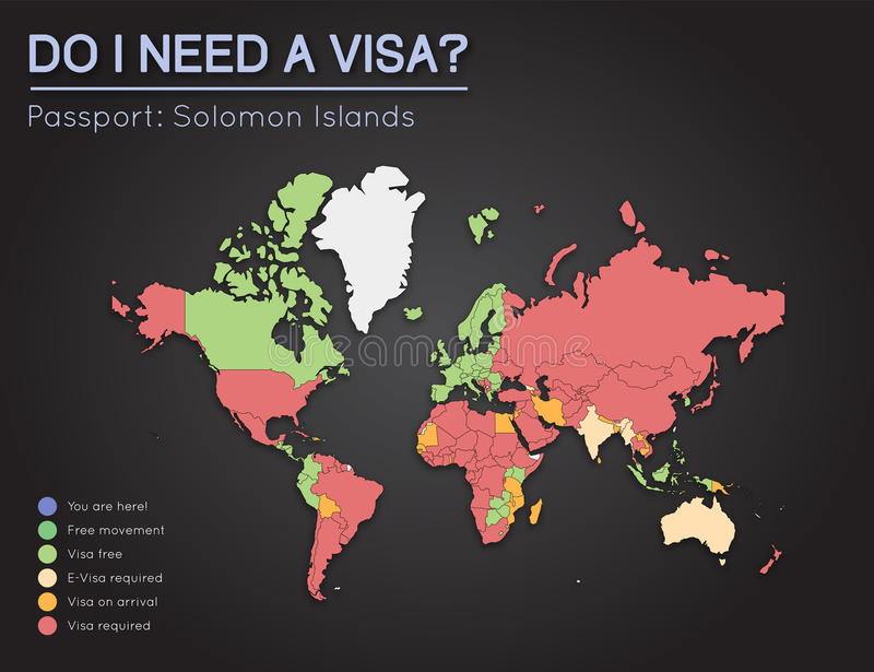 Visas Information For Solomon Islands Passport Stock Vector