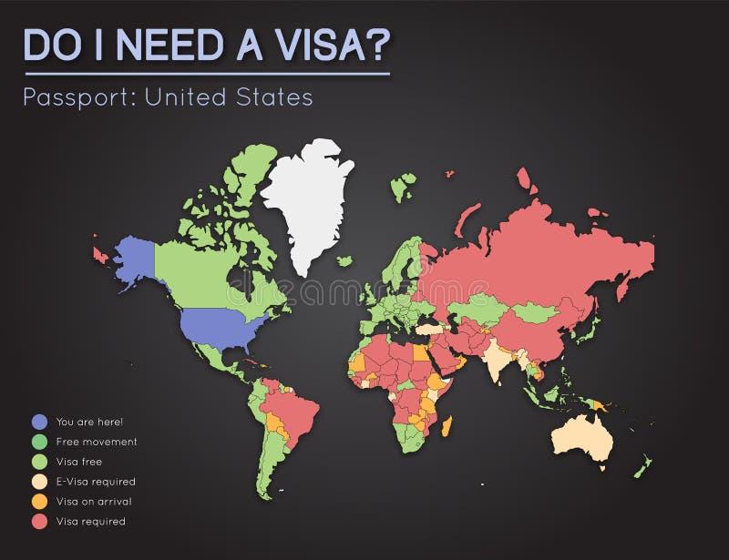 Visas information for United States of America. royalty free illustration
