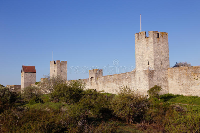 Visby city wall. Part of city wall surronding Visby the primary city of tne Swedhish province of Gotland royalty free stock image