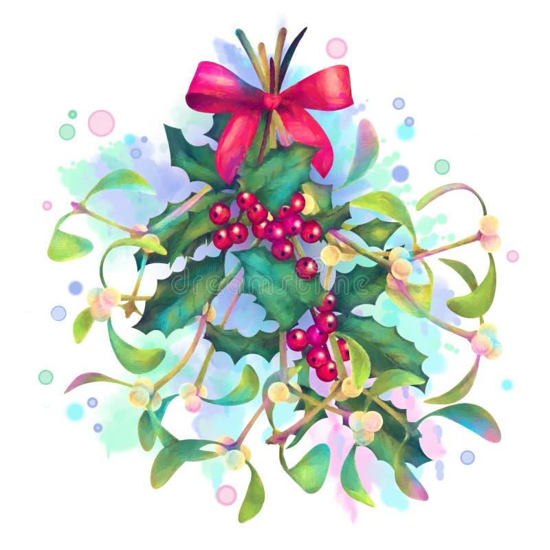 Visco e Holly Bouquet do Natal da aquarela ilustração do vetor