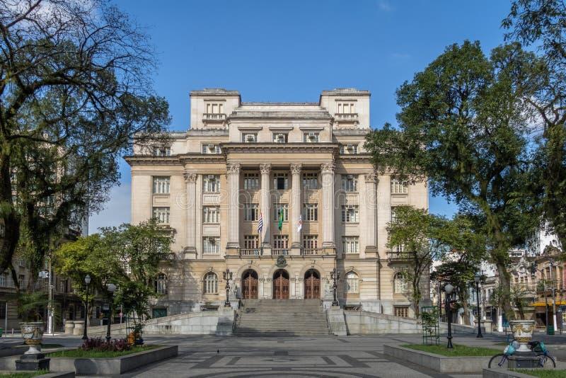 Visconde DE Maua Square en Santos City Hall - Santos, Sao Paulo, Brazilië stock afbeelding