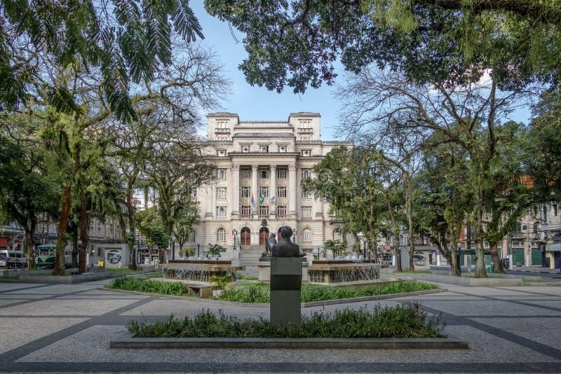 Visconde de Maua Square und Santos City Hall - Santos, Sao Paulo, Brasilien lizenzfreies stockbild