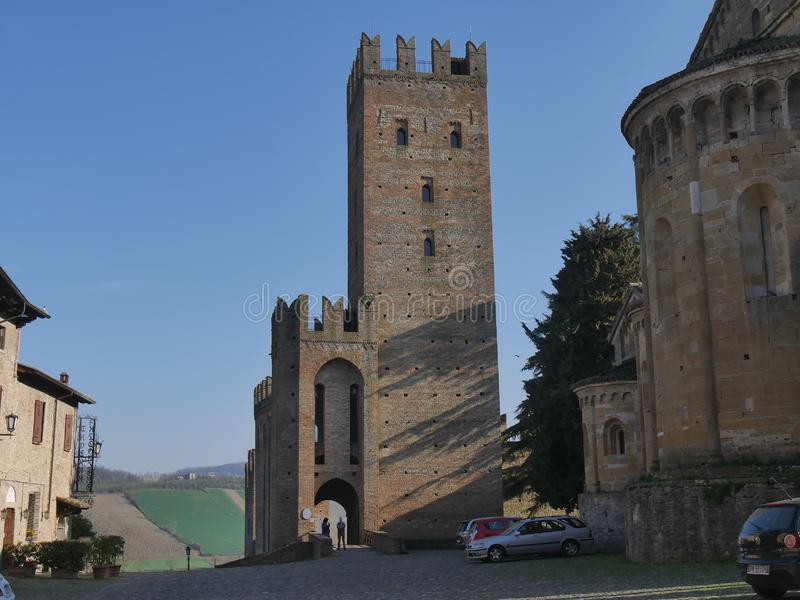 Visconti Castle in Castell`Arquato. royalty free stock photography