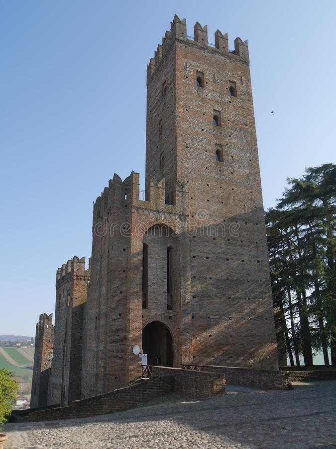 Visconti Castle in Castell`Arquato. Visconti Castle was the seat of the Visconti garrison and has a quadrangular plan with four towers, a mastio and a ditch royalty free stock photos