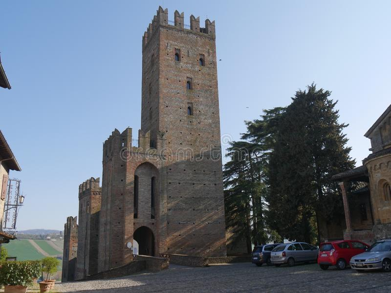 Visconti Castle in Castell`Arquato. stock image