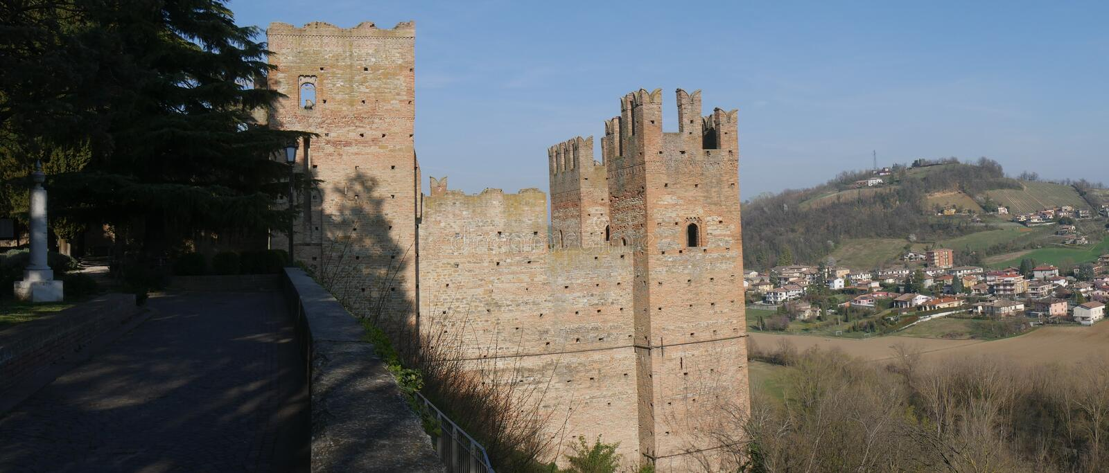 Visconti Castle in Castell`Arquato. Visconti Castle was the seat of the Visconti garrison and has a quadrangular plan with four towers, a mastio and a ditch stock photos