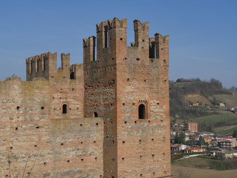 Visconti Castle in Castell`Arquato. stock photos