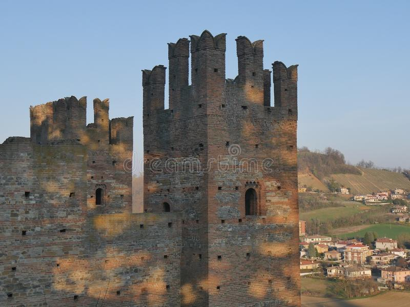 Visconti Castle in Castell`Arquato. stock photo