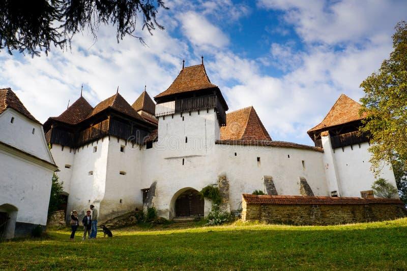 Viscri加强了中世纪教会 库存照片