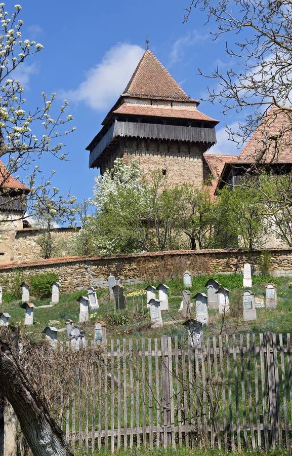 Viscri,特兰西瓦尼亚被加强的教会, 库存照片