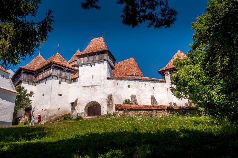 Viscri fortificou a igreja - local Romênia do patrimônio mundial do UNESCO fotografia de stock