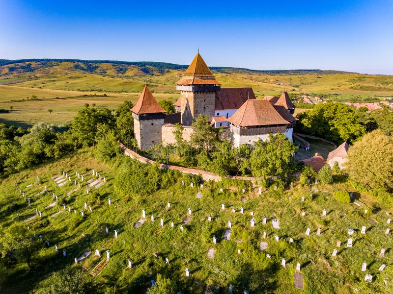 Viscri Fortified Medieval Saxon Church in the village of Viscri, Transylvania, Romania built as a stronghold fortification by. The Saxons in Transylvania stock photography