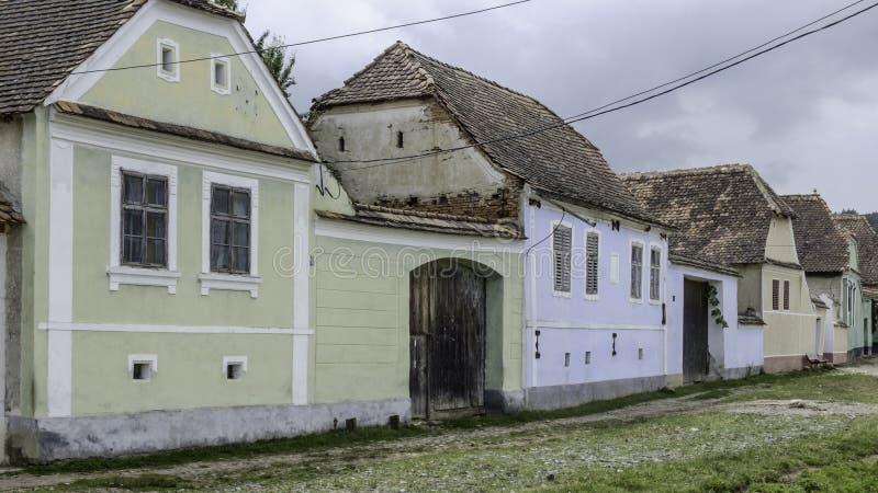 Viscri, Roemenië, Europa, het huisvesten stock foto's