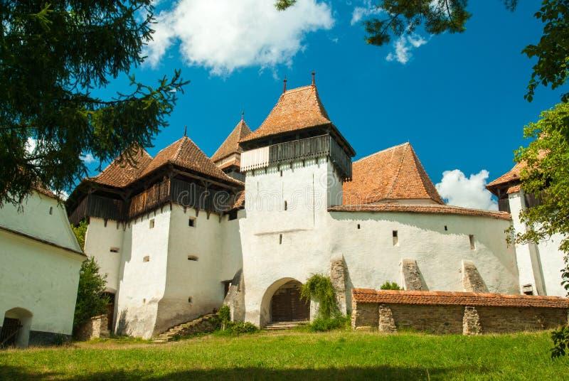 Viscri versterkte kerk, Transsylvanië, Roemenië stock foto