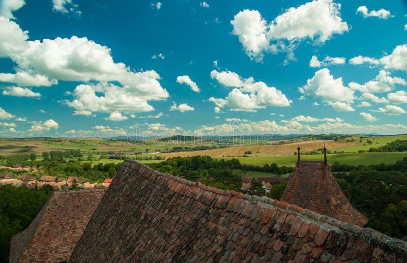 Viscri versterkte kerk, Transsylvanië, Roemenië royalty-vrije stock foto's